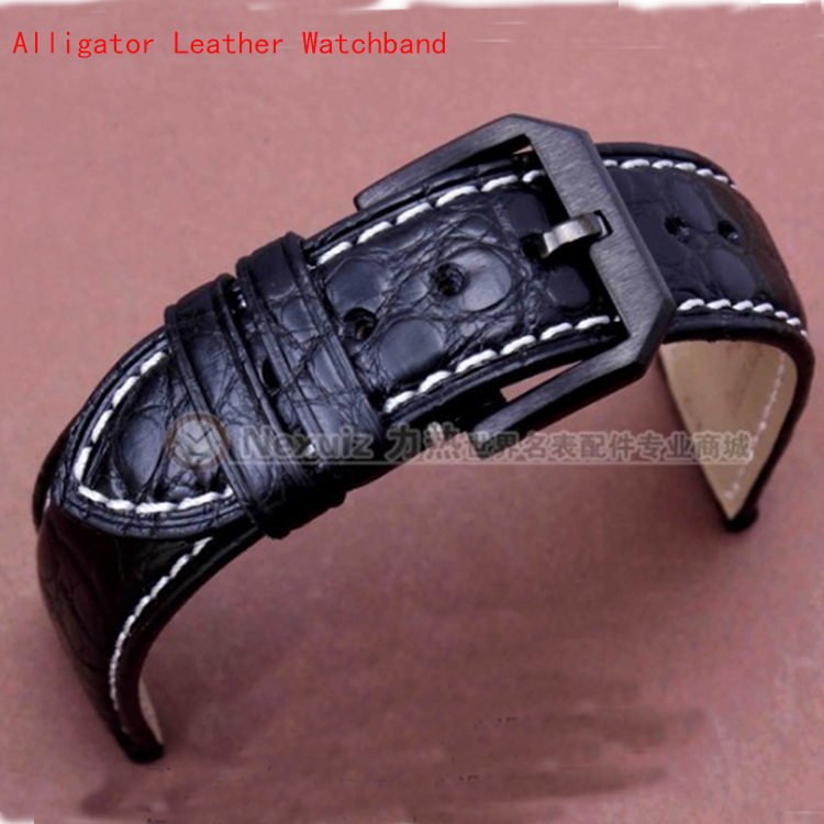 New High Quality Crocodile Leather Watchband Black with White Stitched Black Steel deployment for Brand Men Watches Luxury 20mm top quality 2 mm machine stitched kendo bogu aizome deer leather men do kote tare free shipping
