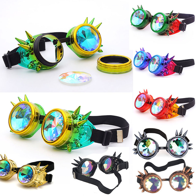 Kaleidoscope Rainbow Crystal Lenses Men Women Rivet Steampunk Goggles Cosplay Vintage Glasses Welding Gothic Cool Eyewear