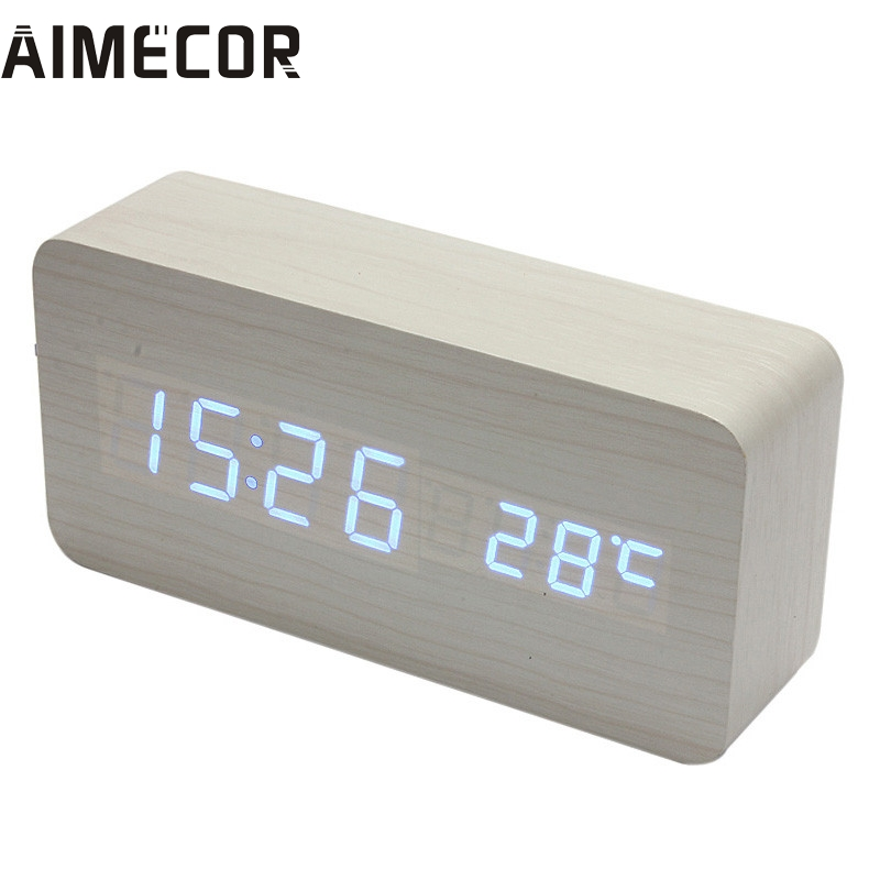 My House Temperature Sounds Control display electronic desktop LED Alarm Clock 2017 New Hot Sell 17Mar9