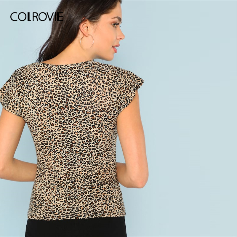 COLROVIE V-Neck Short Flutter Sleeve Leopard Print Casual T-Shirt Women 2019 Summer Sexy Basic Office Ladies Clothing Tee Shirts Women Women's Clothings Women's T-Shirts cb5feb1b7314637725a2e7: Multi