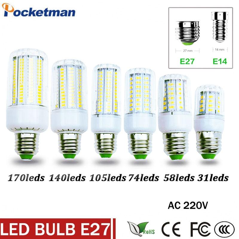 Super LED Bulb E27 E14 220V SMD 5730 LED Lamp 31 58 74 105 140 170leds 5730SMD LED Corn Bulb light Chandelier Free Shipping 10 x brelong 3w e14 smd 5730 300lm led corn light