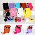 La cámara de la pu duro bolsa para fuji mini 90 cámara de vídeo portátil caso de la cubierta de fotos con pu correa para el hombro para fuji instax mini 90