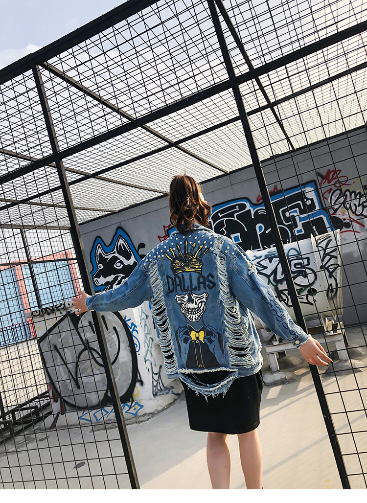 Clouté Cardigan Crâne Femelle Veste Imprimer Lâche Denim Occasionnel Effiloché Trous Retour Manteau Survêtement Vintage Street Conception Wear x4q4RT8