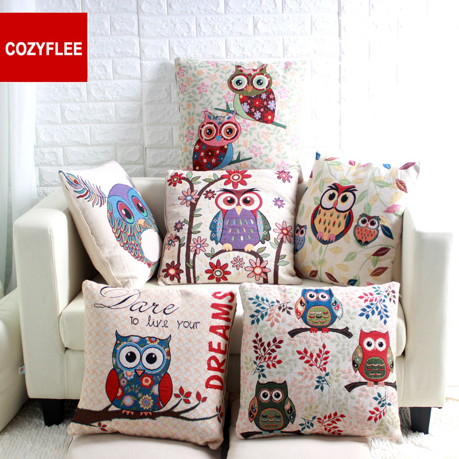 45x45cm Animal Flower Decorative Vintage Linen Throw Pillow Covers Sofa  Chair Owl London Cushion Cover Pillow Case W/O Filling