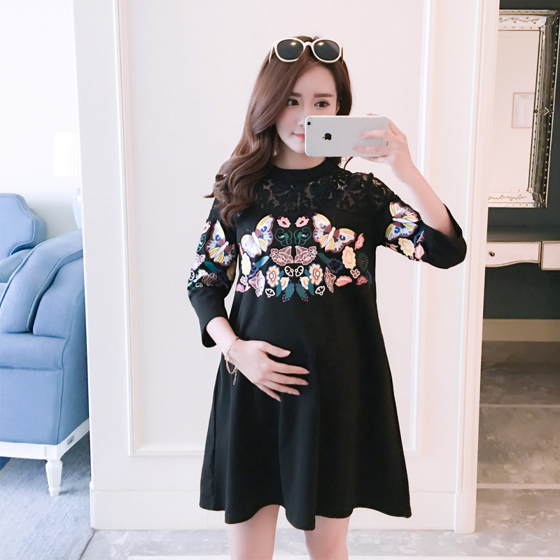 2018 summer lace patchwork full sleeve t shirt braces dresses loose dress maternity clothes for pregnancy