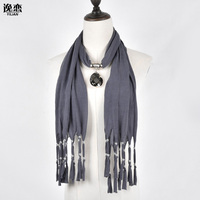 6 Colors Free Shipping Fashion Scarves For Women Tassels Jewellery Scarf With Crystal Pendant SF247