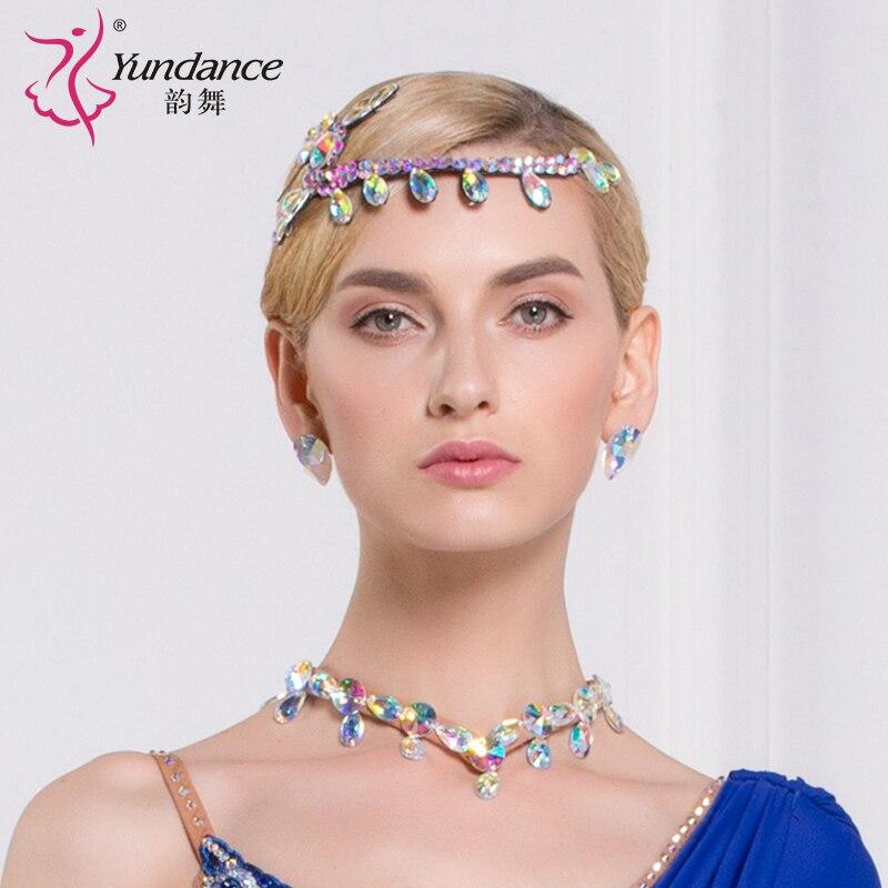 Lady New Modern Dance Headgear Girls National Standard Headpiece Latin Match Diamond Accessory Dancing Rhinestone Headwear B6591
