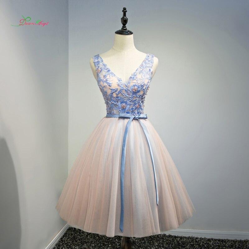 Ангел мечты Элегантный V шеи по колено коктейльные платья 2018 Бисер вышивка специальный Нарядное платье Короткое платье; для вечерние