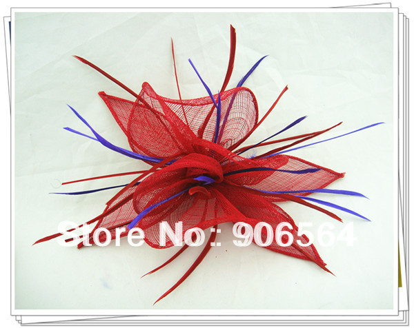 Free shipping Retail red with purple decoration hair clip sinamay fascinator hats nice w ...