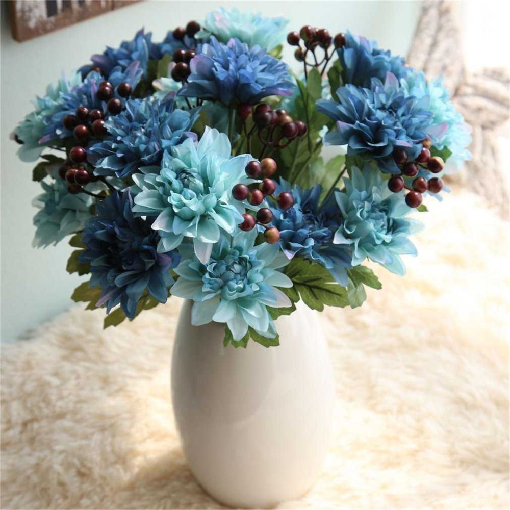 2 colors beautiful artificial flowers vivid fake wedding flower 2 colors beautiful artificial flowers vivid fake wedding flower dahlias bouquet wedding home party decoration pink blue in artificial dried flowers from izmirmasajfo