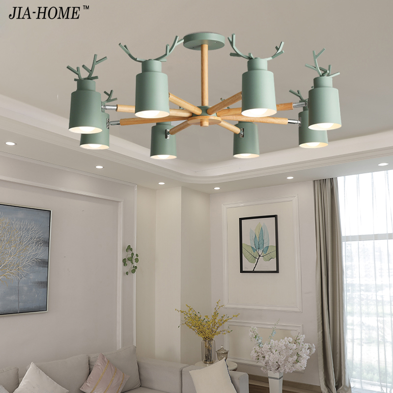 Modern LED Chandelier Lighting For Living Room white grey green Chandeliers Wooden Lustres Wood Dining Lamp