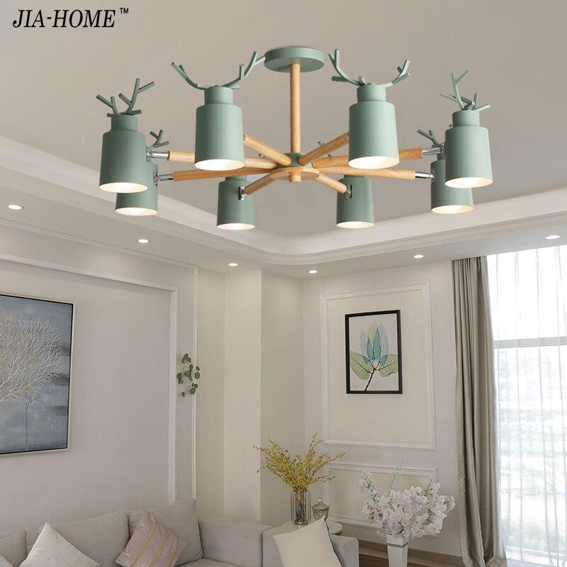 Modern LED Chandelier Lighting For Living Room white grey green Chandeliers Wooden Lustres Wood Dining Lamp Kitchen Lighting der