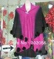 Luxury Faded 2 tone rabbit fur ball fringed wraps shawl Sarongs Hijabs scarf ponhos stole mixed colors 5pcs/lot  #3445