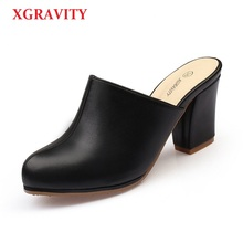 XGRAVITY 2019 New Summer Lady Close Toe Lady Fashion High Heel Slippers Fashion Woman Clogs Lady Casual Sandals Black Shoes B001