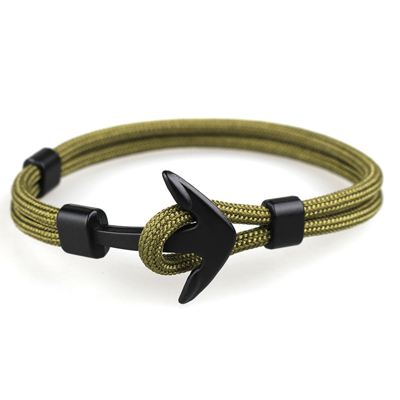 HOMOD New Fashion Black Anchor Bracelets Men Charm 550 Survival Rope Chain Paracord Bracelet Male Wrap Metal Sport Hooks in Charm Bracelets from Jewelry Accessories