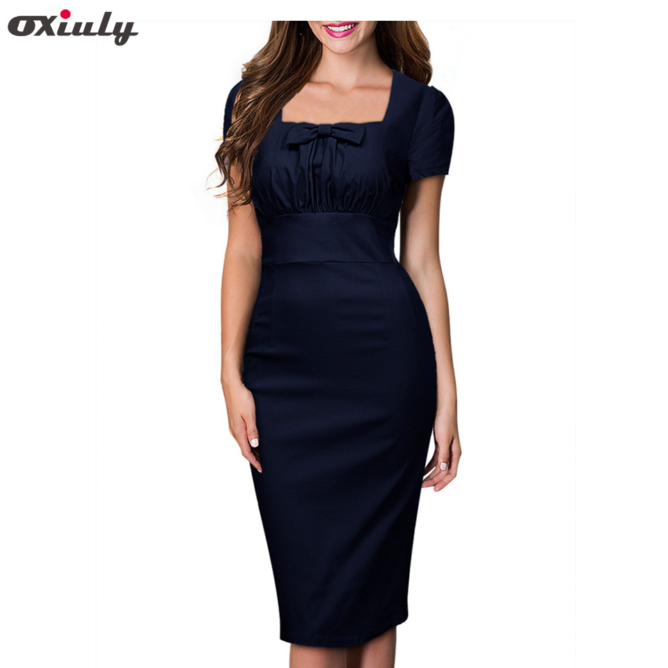 COOL FASHION  FOR WOMEN Women Elegant Vintage Pin Up Bow Ruched Tunic Square Collar Business Casual Work Party Stretch Bodycon Pencil Sheath Dress