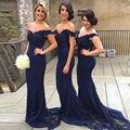 Navy Azul Fuera del Hombro de Novia de Encaje Vestidos de Fiesta Sirena Vestidos de Dama de Borgoña Elegante vestido de festa de casamento
