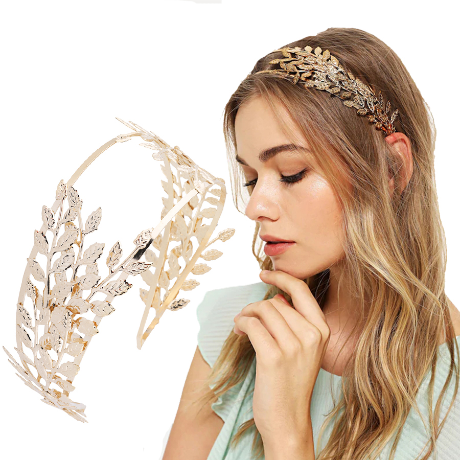 Haimekang Bridal Forehead Hairband Headband Crowns Gold Metal Hollow Leaf Design Hair Hoop Wedding Hair Accessories Women