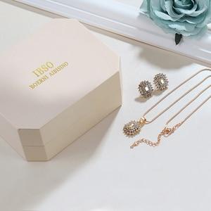 Image 5 - IBSO Merk vrouwen Horloge Set Mode Oorbel Ketting Horloge Set Vrouwelijke Sieraden Set Mode Creatieve Quartz Horloge vrouw gift