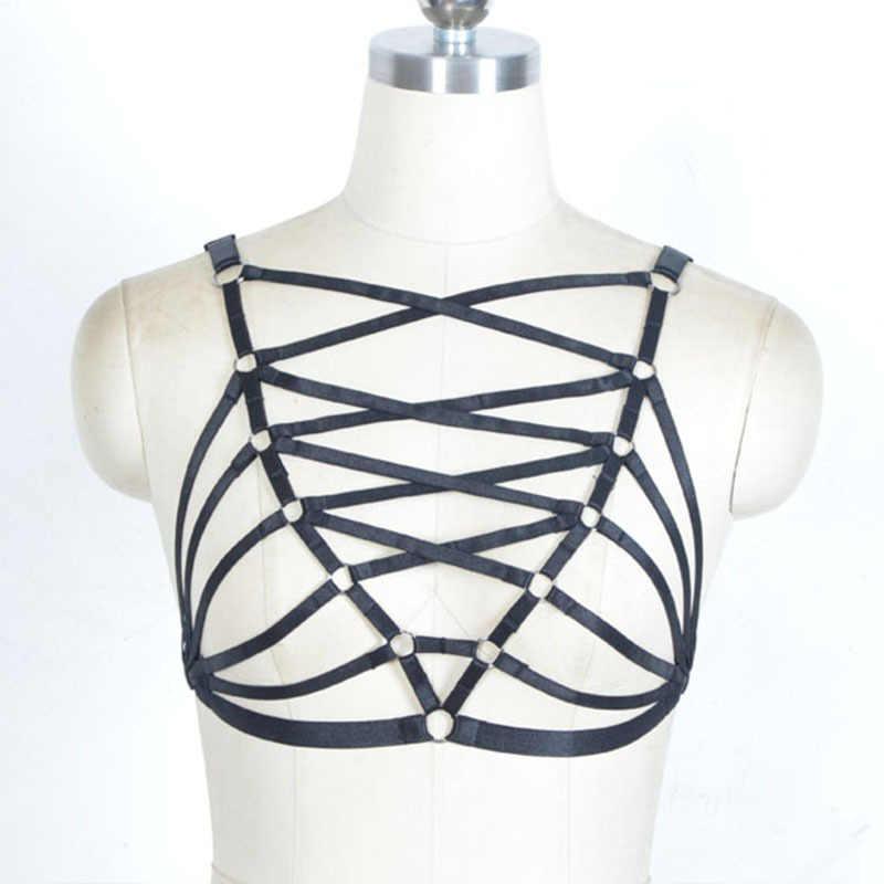 New Phụ Nữ sexy harness cage áo ngực Fetish Trang Phục Kỳ Lạ Harajuku Gothic đồ lót sexy pastel goth bondage harness cage áo ngực