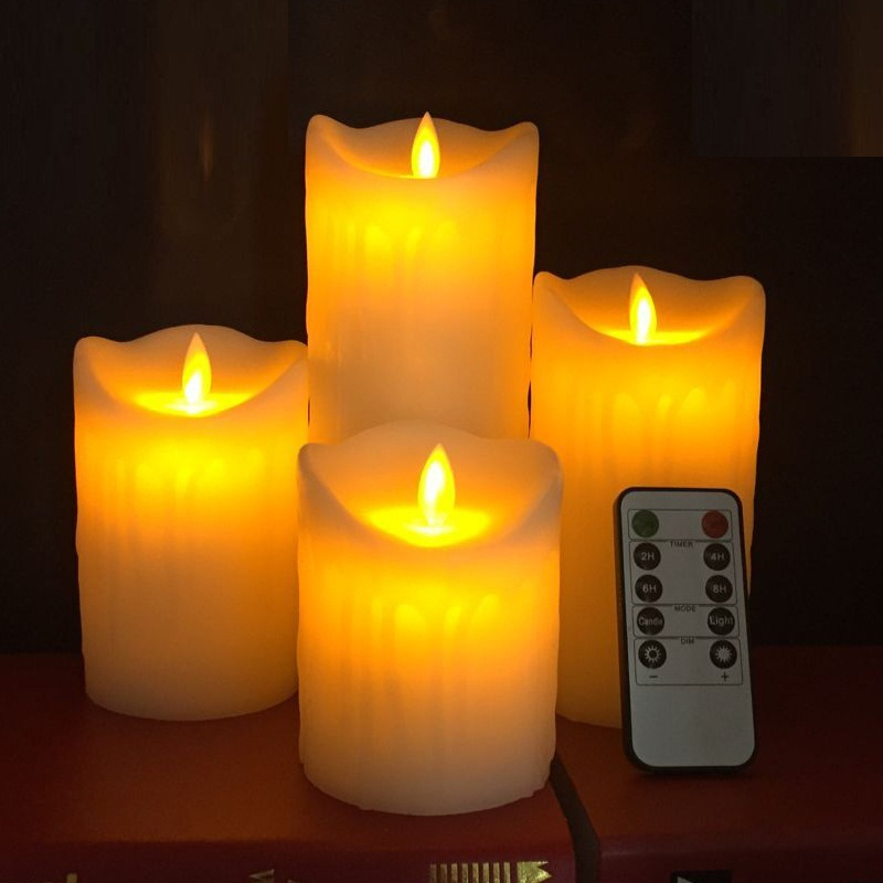 Rc Led Candle Led Electric Decorative Paraffin Wax Candles With Tears Design Moving Wick Flame