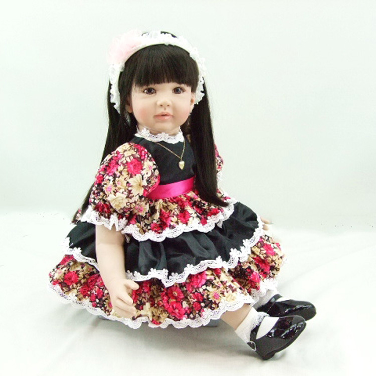Pursue 24/60 cm Beautiful Flower Dress Vinyl Silicone Reborn Toddler Princess Girl Doll Toys for Children Girls Bedtime Gift hot newest 18 inch handmade vinyl doll bjd doll with dress beautiful princess doll toy for children christmas gift