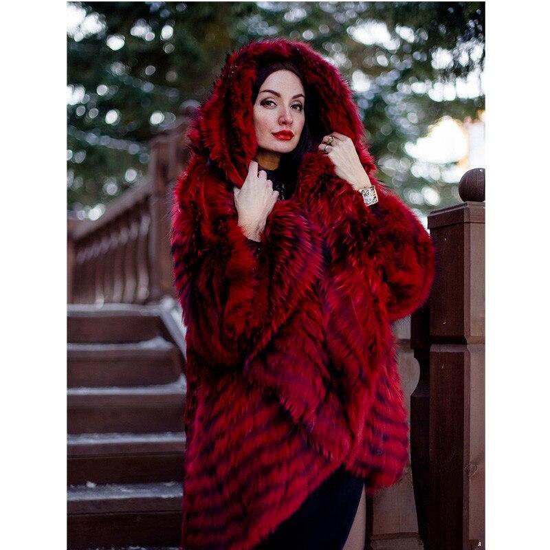 Col Mode Rouge Cape Poncho La Veste Red Fursarcar Avec Solide Renard Natrual Luxe Lâche Argent Fourrure Manteau Femmes Plus Taille De wvXqyaFq