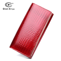 Qianxilu Brand Fashion Alligator Womens Wallets And Purses Patent Genuine Leather Ladies Leather Wallets