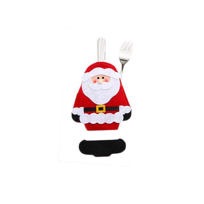Шляпа Санты, олень, Рождество, Год, карманная вилка, нож, столовые приборы, держатель, сумка для дома, вечерние украшения стола, ужина, столовые приборы 62253 - Цвет: D
