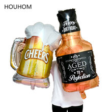 Happy Birthday Balloons Big Whiskey/Champagne Cup Foil Balloon Decoration Kids Adult Party Helium Air Globos
