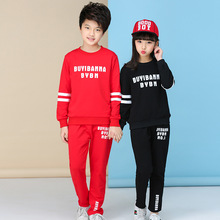 Autumn Winter New Big Boys Girls Clothes Set 2pcs Cotton Red Black for Brother Sister Matching Outfits Chlildren Sets Hot