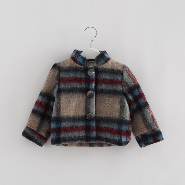 Girls Winter Woolen Single-breasted Coat Plus Velvet Jacket Plaid Woolen Coats Kids Boys Autumn Jackets Children's Wool & Blends