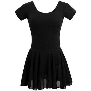 Image 3 - Traje de balé leotards para mulheres, traje de dança adulto, vestido collant de algodão preto com chiffon