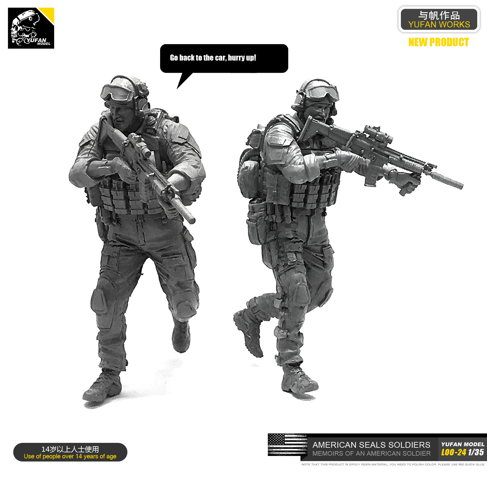 Yufan Model 1/35 Figure Model Kit   Resin Soldier Of Us Seal Commando Unmounted Loo-24