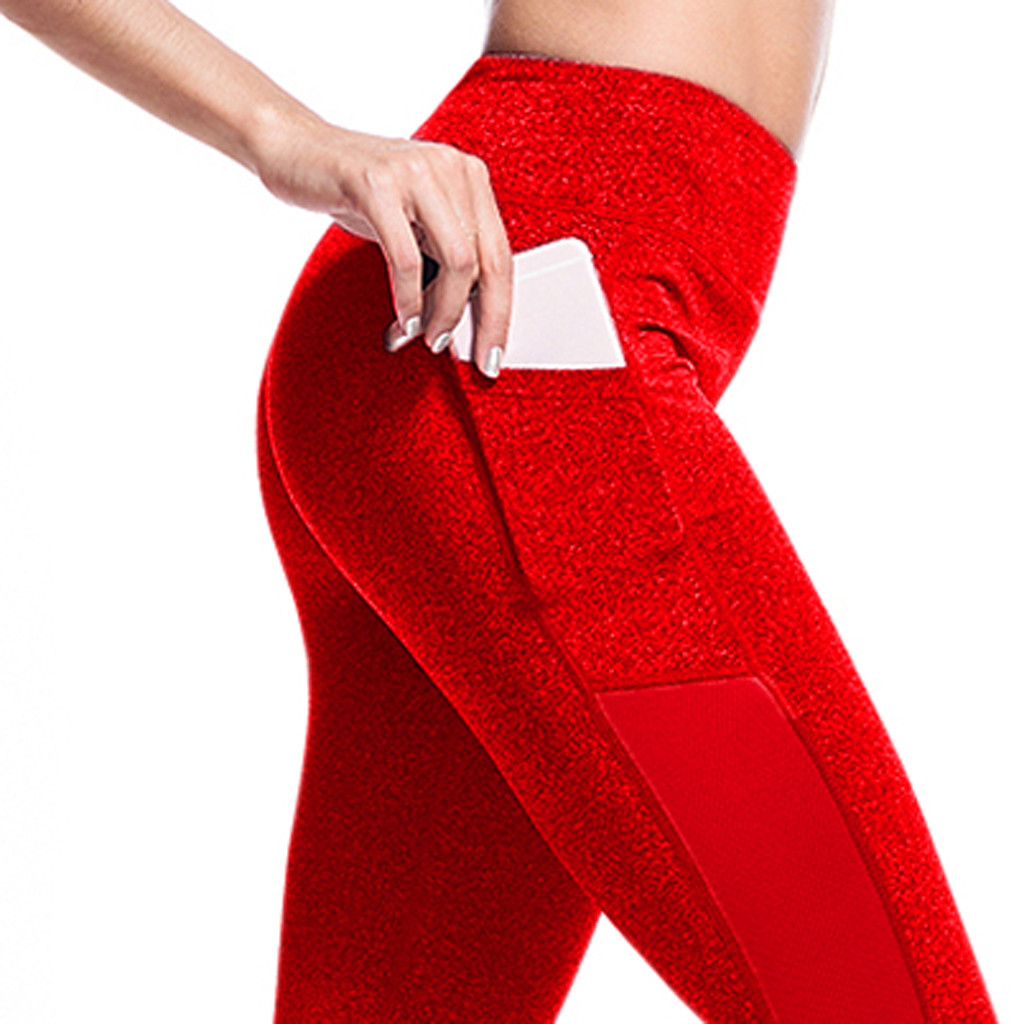 Pants Pockets S-XL Women Sport Leggings Jogging Workout Running Leggings Stretch High Elastic Gym  Women Legging Pants