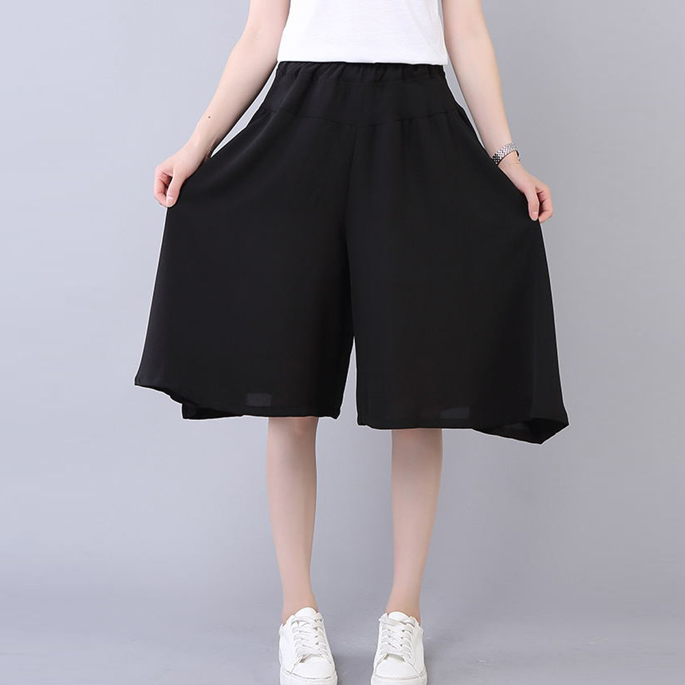women summer loose wide leg   pants     capris   plus size XL-5XL knee length black   pants   elastic waist casual   pants