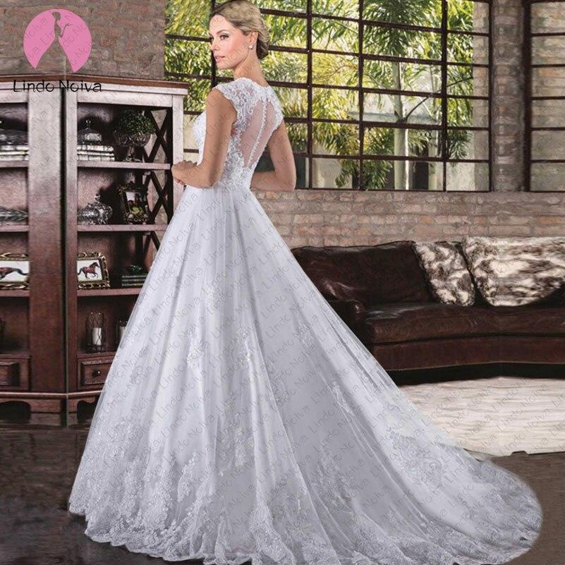 Vestido De Noiva Simples O-neck Tank A Line Wedding Dresses 2019 Sexy Appliques Tulle Bride Gowns Bridal Zipper Back Casamento