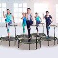 48 дюймов шестиугольная приглушенный фитнес батут с регулируемые перила для крытого тренажерного зала прыгать спортивные взрослые дети без...