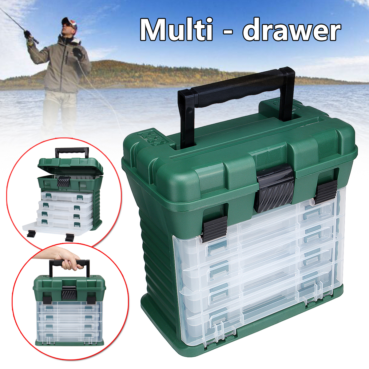 Portable Big Fishing Tackle Box Lure Accessory Storage with 4 Drawers Adjustable Dividers Fishing Accessories Tackle Tool Box цена 2017