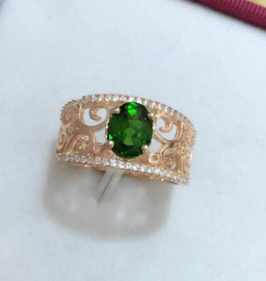Natural green diopside gem Natural gemstone ring S925 sterling silver trendy Elegant Hollow leaves women party gift fine JewelryNatural green diopside gem Natural gemstone ring S925 sterling silver trendy Elegant Hollow leaves women party gift fine Jewelry