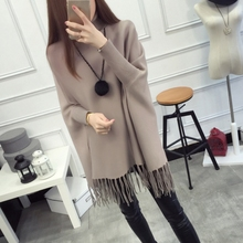 High collar suit sweater women spring and autumn tassel bat new jacket loose sweater