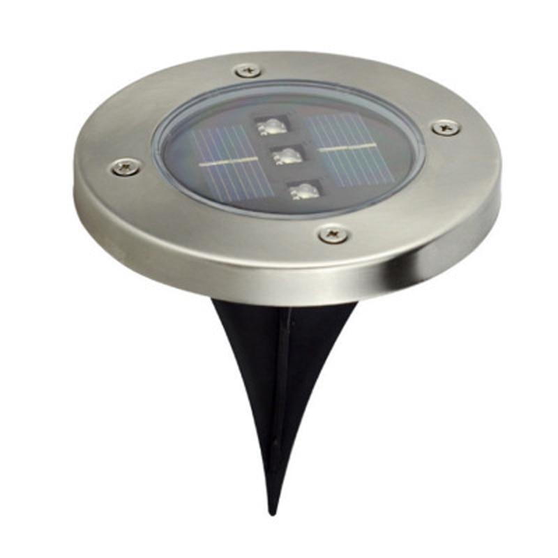 2 LED 3 LED Solar Powered Buried Light Under Ground Lamp Disk Lights Outdoor Garden Stair Lights For Holiday White/Warm White solar powered 3 led white flashlight keychain silver