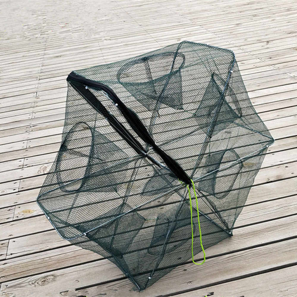 4/6/8/12/16 foro pesce granchio trappola gabbie di rete da pesca reti del cast di gamberetti di nylon rete Da Pesca Automatico Gabbia Pieghevole Trappola Cast
