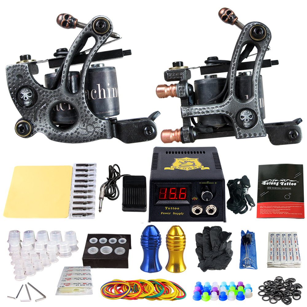 Complete Tattoo Machine Kit Set 2 Coils Guns Sets Grips Body Arts Supplies Needles Tips Tattoo Beginner Kits TK202-27 usa dispatch complete beginner tattoo kit 3 machines guns lcd power needles tips grips set equipment supplies