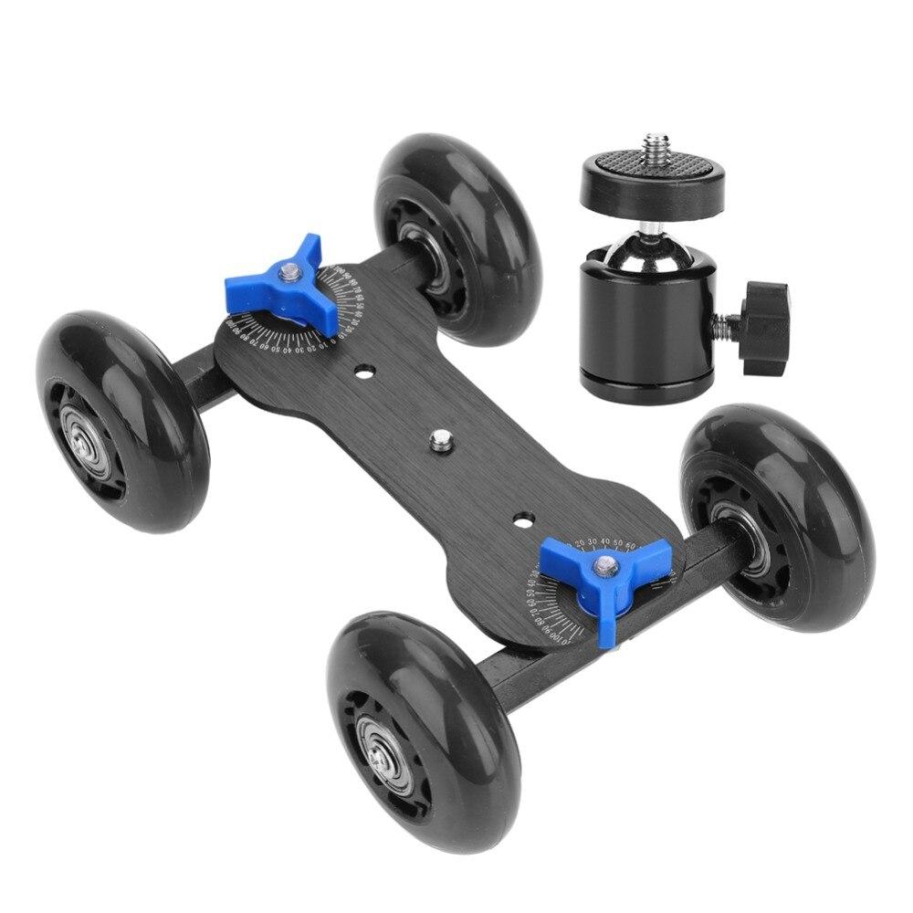 Universal 4 Wheel Desktop Vedio Rail Track Slider Dolly Car For DSLR Camera Camcorder