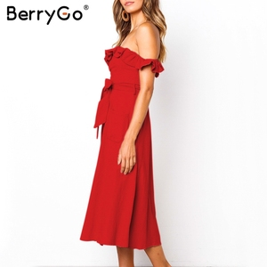 Image 2 - BerryGo Sexy off shoulder ruffled women dress Solid button sashes summer dress Elastic high waist party dress ladies midi dress