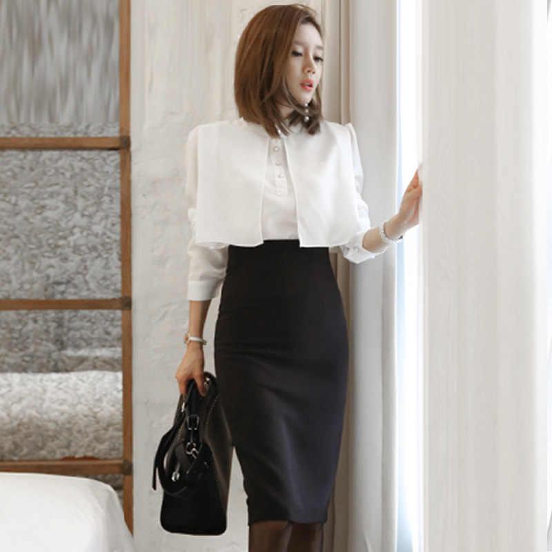 40af18646f Zarachiel Business 2 Piece Set Women Autumn White Cape Long Sleeve Pearl  Blouse Shirt+Black Split Pencil Bodycon Skirt Suit Set