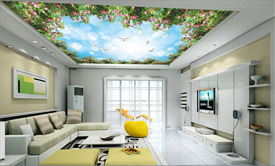 3d room wallpaper custom mural non-woven picture 3 d Beautiful flowers rose to sky  ceiling mural photo wallpaper for walls 3d mural wallpaper 3d home decoration cherry trees 3d wallpaper living room ceiling non woven wallpaper ceiling