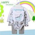 Bebê Define 5 pçs/set Bodysuit Bebê 100% Primavera Meninas Meninos Recém-nascidos Do Bebê do Algodão Da Criança Macacão Roupas de Bebe Geral V20