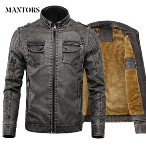 Image 1 - Men PU Leather Jacket 2020 New Autumn Winter Mens Thick Casual Warm Stand Collar Zipper Coats Male Fashion Motorcycle Jackets